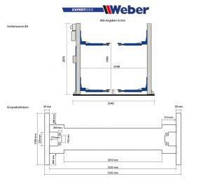 Elektrohydraulische 2-Säulen Hebebühne für Pkw und Kleintransporter