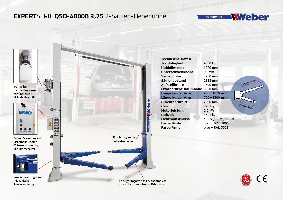 Weber Expert Serie 2 Säulen Hebebühne QSD-4000B