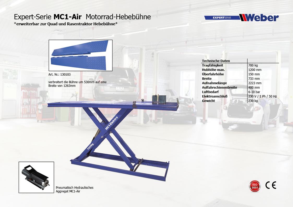 MOTORRAD HEBEBÜHNE WEBER EXPERT SERIE MC1-AIR