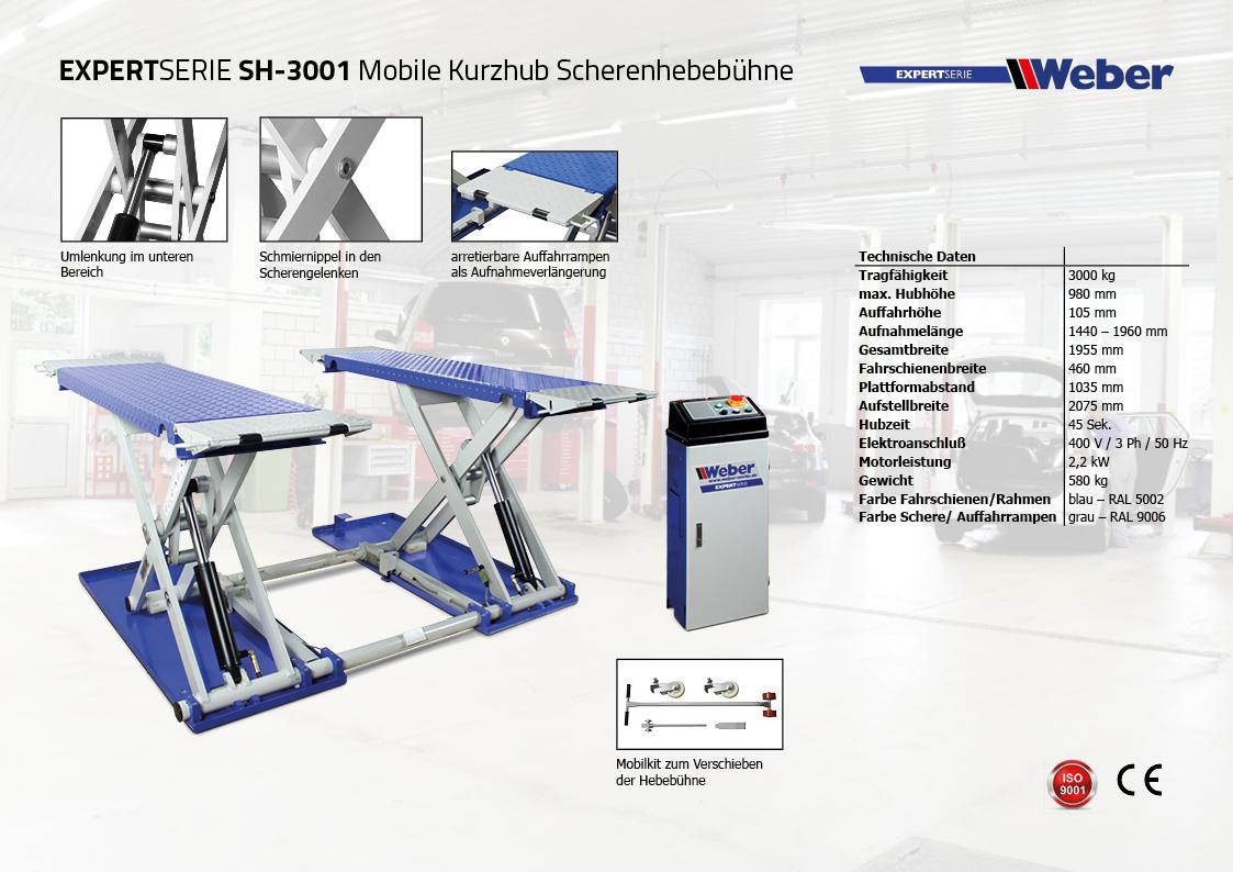 Mobile Kurzhub Scherenhebebühne Weber Expert Serie SH-3001