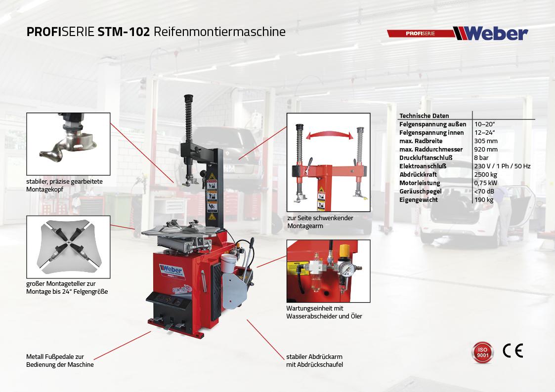 PKW Reifen Montiermaschine Weber Profi Serie STM-102