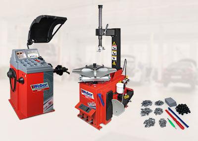 PKW Radwuchtmaschine und Montiermaschine Weber Profi Serie Paket inkl. Wuchtmaschinen Starterpaket