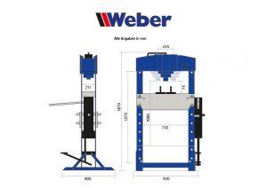 Werkstattpresse WZ-WP50 mit Fußpedal 50 Tonnen