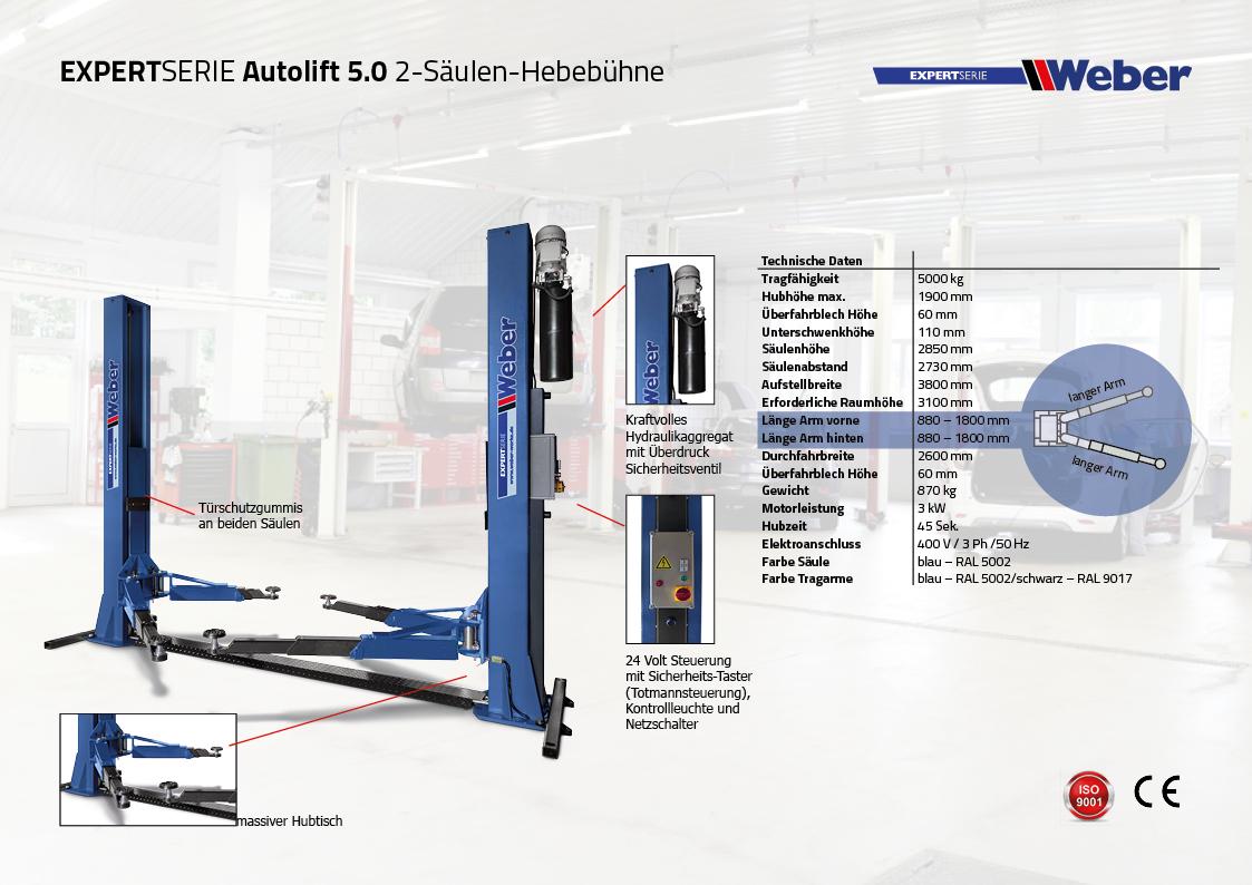 2 Säulen Hebebühne Weber Expert Serie Autolift 5.0