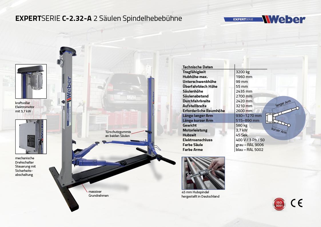 Weber 2 Säulen Spindel Hebebühne C 2.32 A
