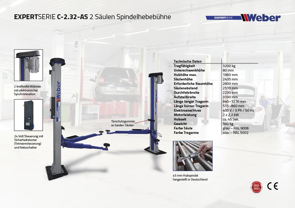 """2 Säulen """"Spindel"""" Hebebühne Weber Expert Serie C-2.32-AS"""
