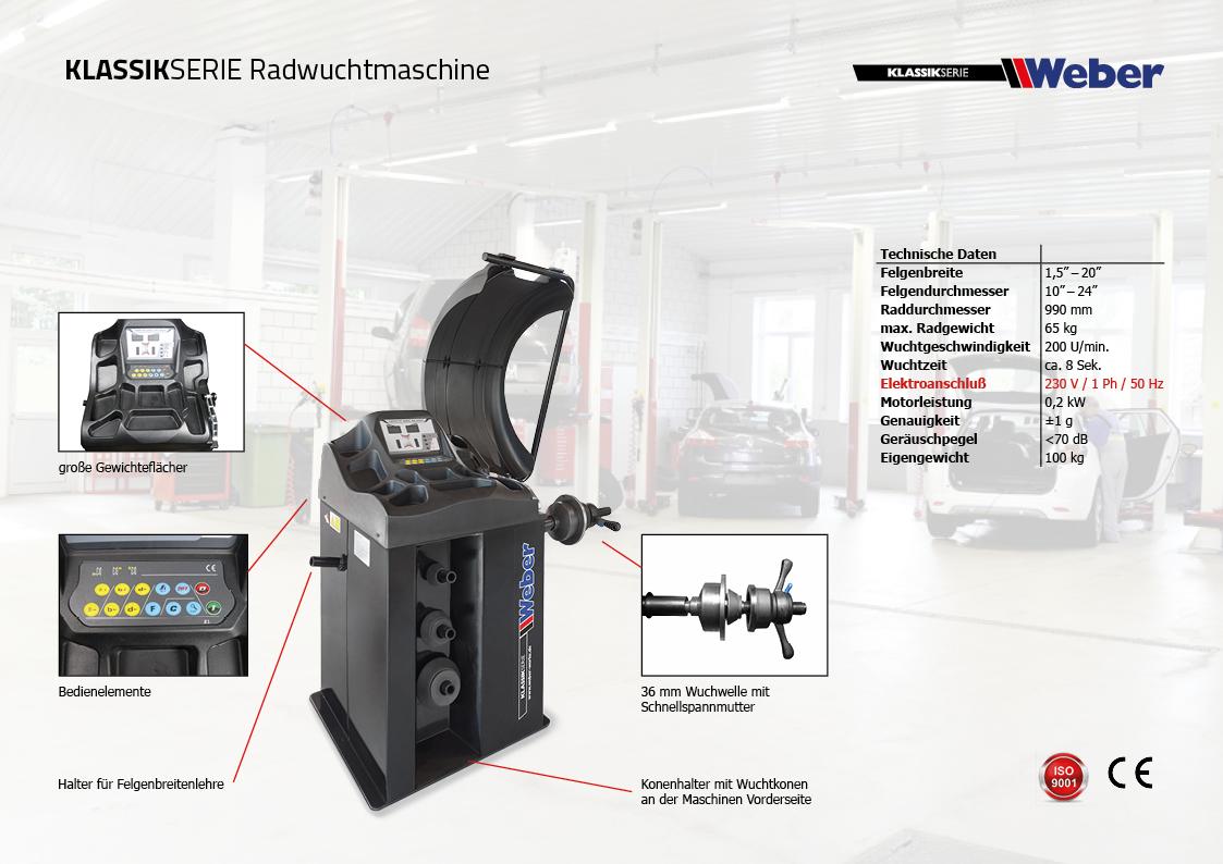 Weber Klassik Radwuchtmaschine