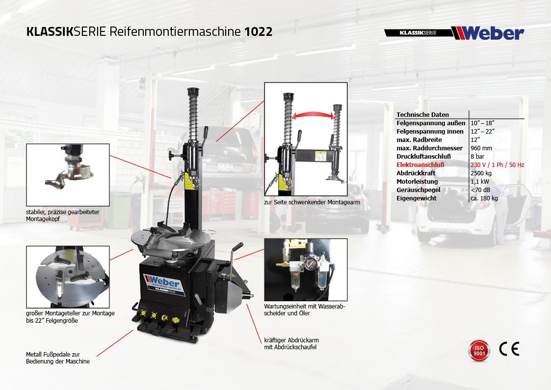 Weber Klassik Serie Reifenmontiermaschine 1022