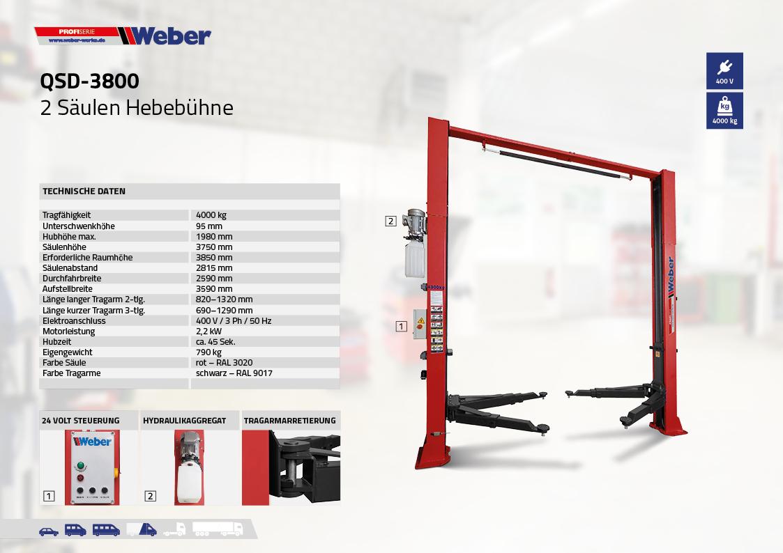 Weber 2 Säulen Hebebühne QSD-3800