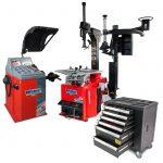 PKW Radwuchtmaschine, Reifenmontiermaschine, Hilfsmontagearm + GRATIS Werkzeugwagen 154-teilig