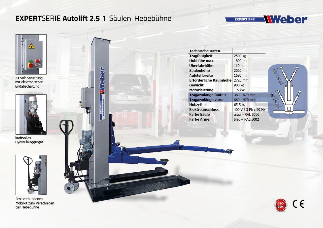 Mobile 1 Säulen Hebebühne Weber Expert Serie Autolift 2.5