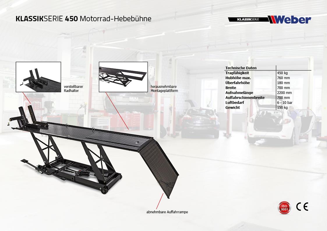 Motorradhebebühne Weber Klassik Serie 450