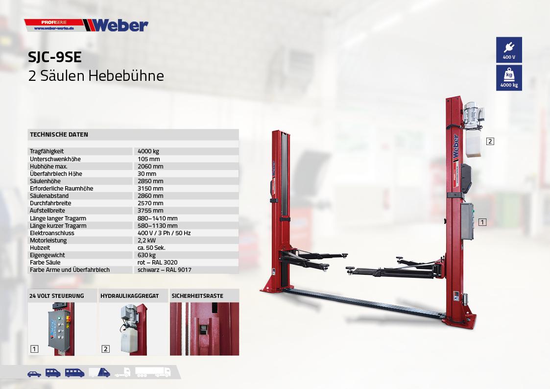 Weber Profi Serie 2-Säulen-Hebebühne SJC-9SE