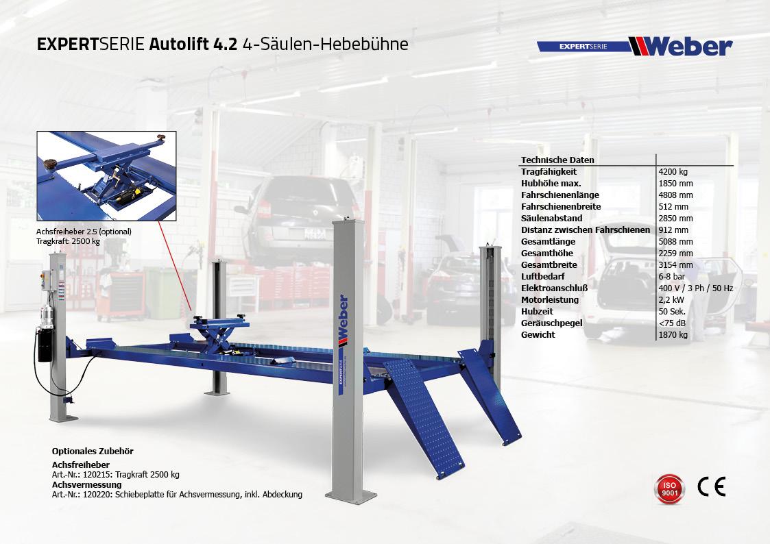 4 Säulen Hebebühne Weber Expert Serie Autolift 4.2