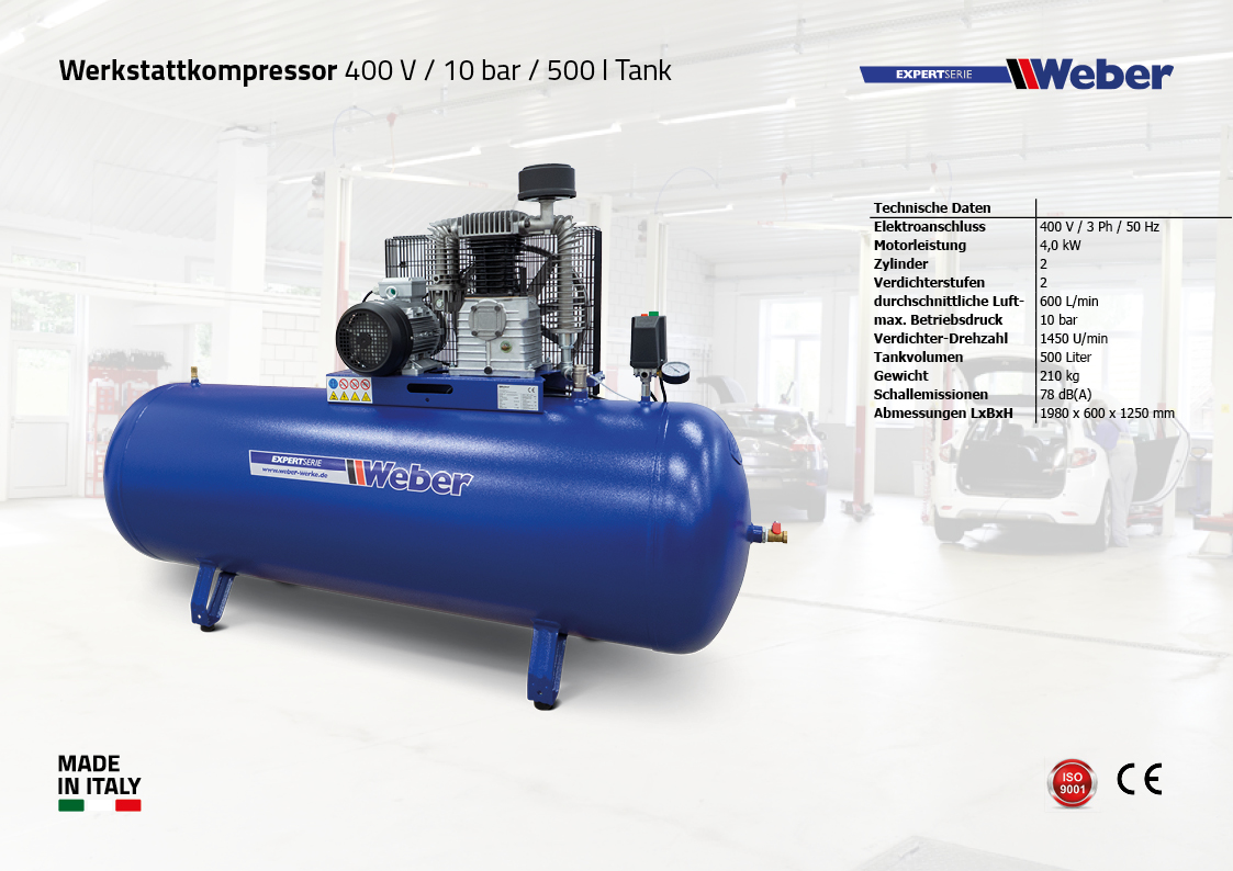 Werkstattkompressor 400 V / 10 bar / 500 l Tank