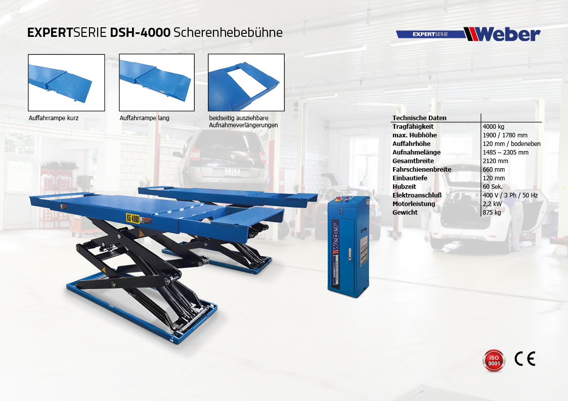 Doppel Scherenhebebühne Weber Expert Serie DSH-4000