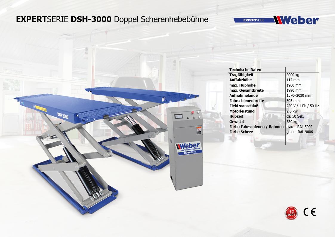 Doppel Scherenhebebühne Weber Expert Serie DSH-3000 – 230 Volt