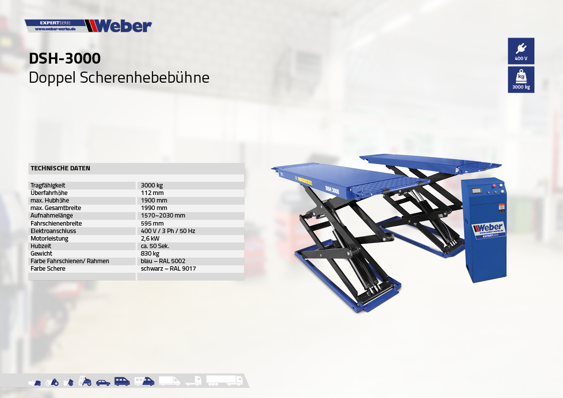 Doppel Scherenhebebühne Weber Expert Serie DSH-3000