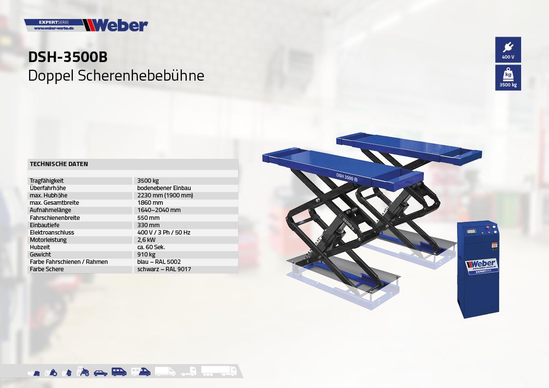Doppel Scherenhebebühne Weber Expert Serie DSH-3500B