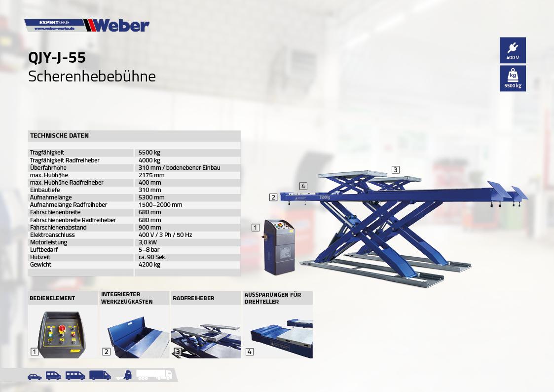 Scherenhebebühne für Achsvermessung Weber Expert Serie QJY-J-55