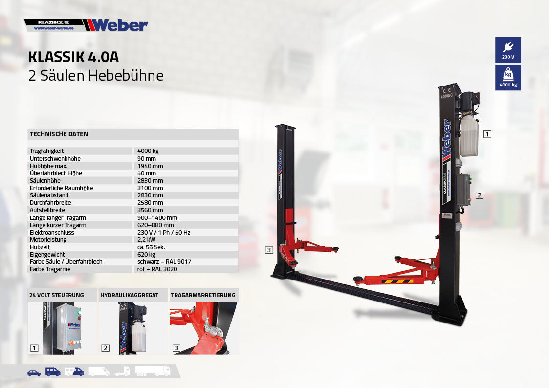 2 Säulen Hebebühne Weber Klassik Serie Klassik 4.0A