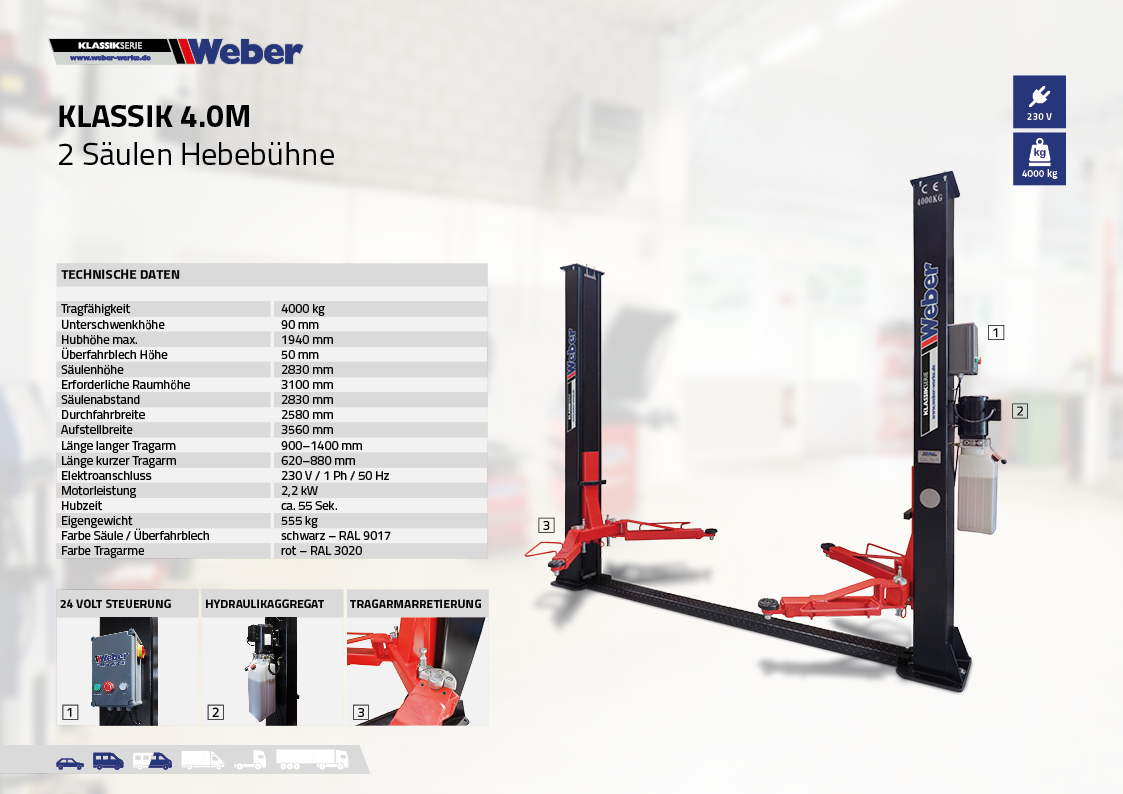 2 Säulen Hebebühne Weber Klassik Serie Klassik 4.0M