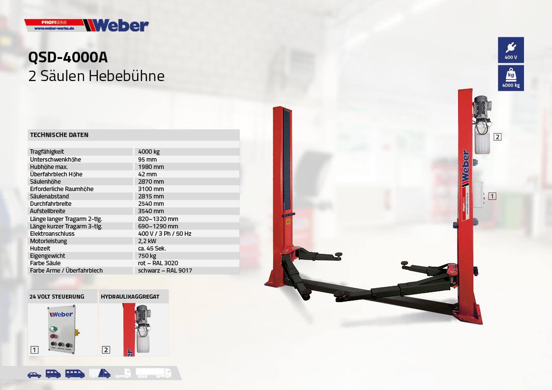 2 Säulen Hebebühne Weber Profi Serie QSD-4000A