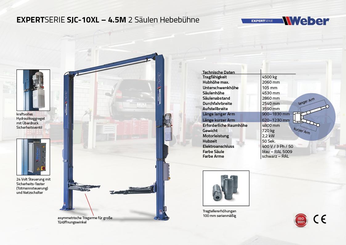 2 Säulen Hebebühne Weber Expert Serie SJC-10XL – 4,5