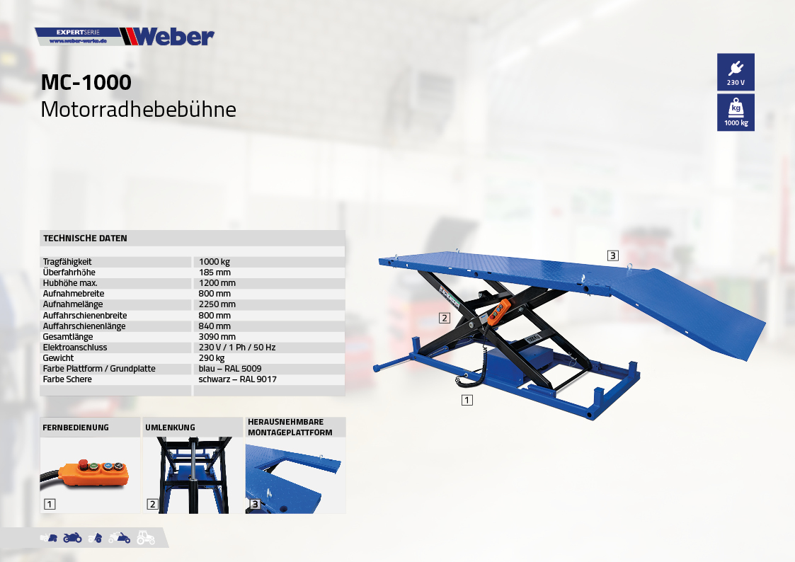 Motorradhebebühne Weber Expert Serie MC-1000