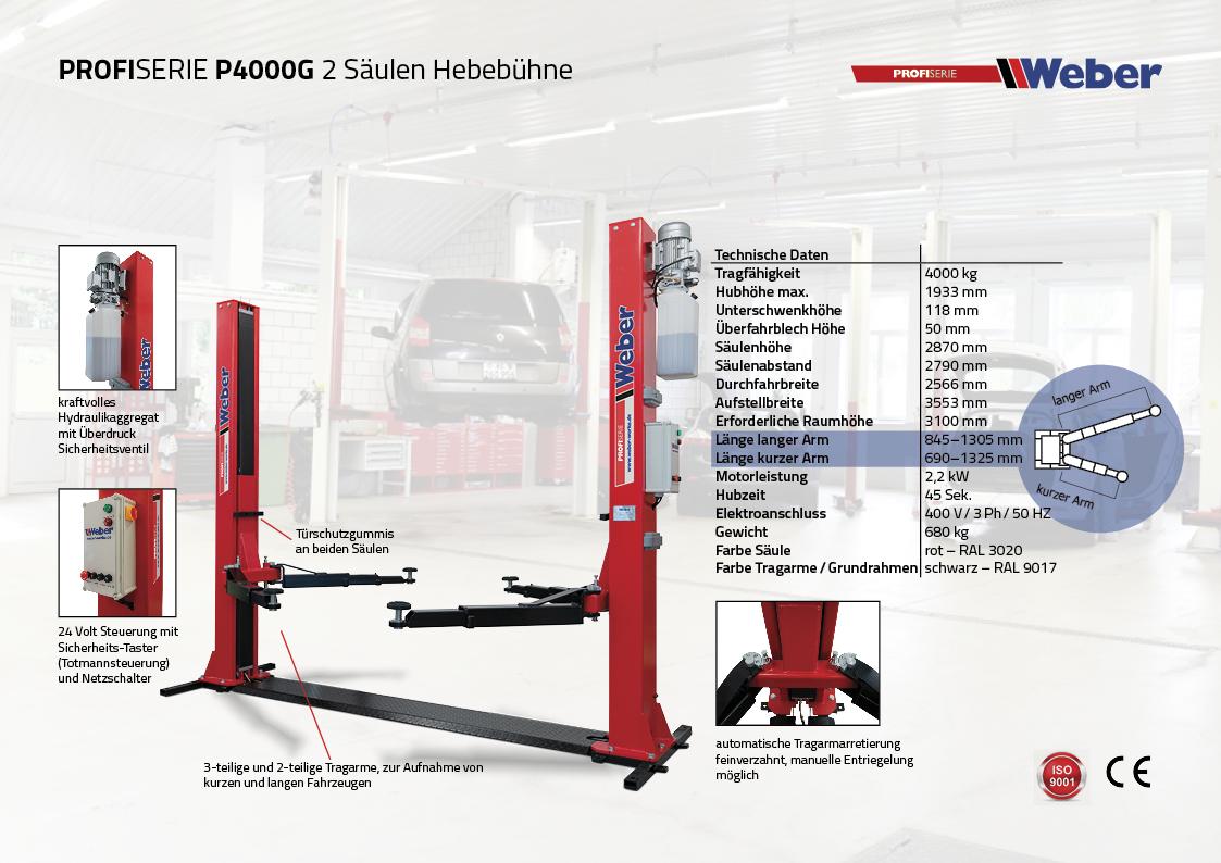 2 Säulen Hebebühne Weber Profi Serie P4000G mit Grundrahmen