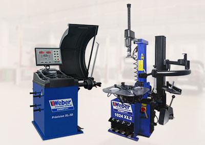 PKW Reifenmontiermaschine und Radwuchtmaschine Weber Expert Serie Werkstattpaket-L 3D