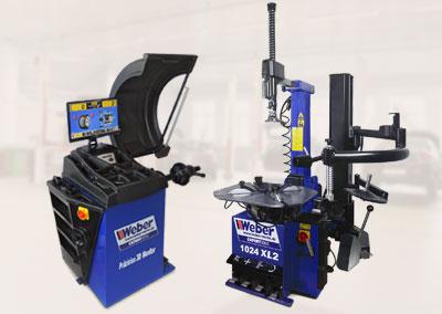Weber PKW Reifen Montiermaschine 1024-XL-2HP + PKW Radwuchtmaschine Präzision-3D-Monitor