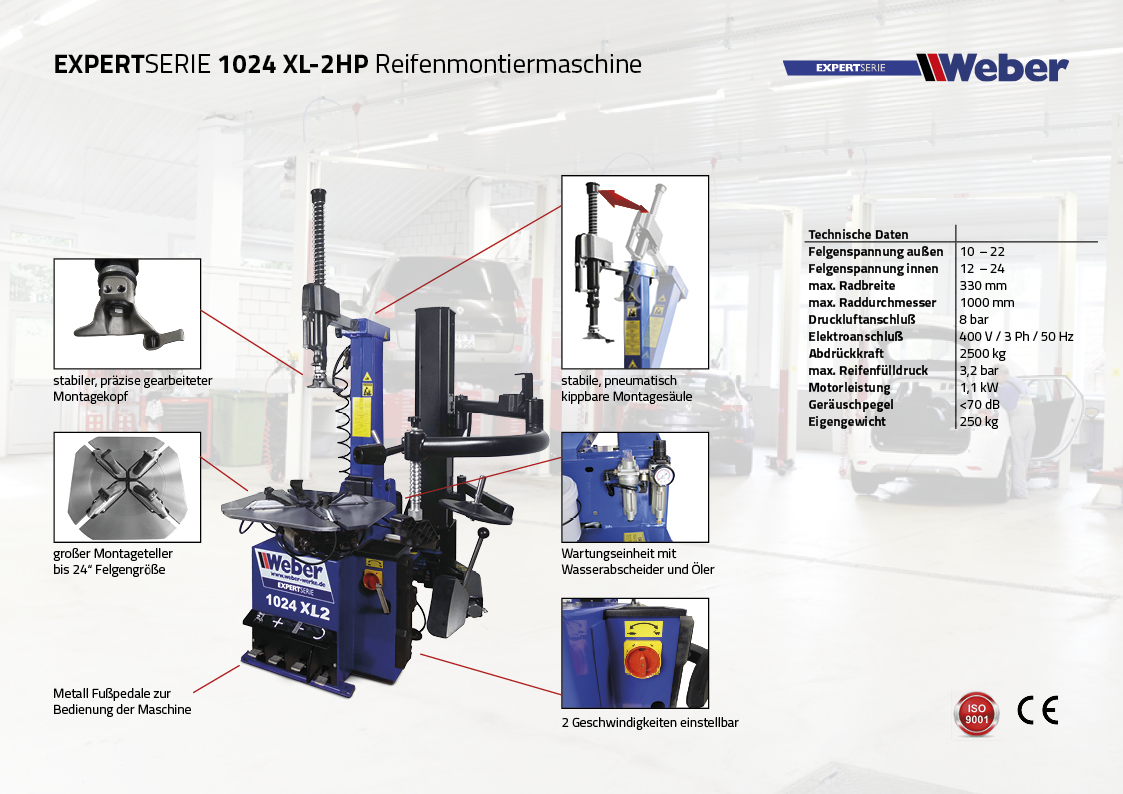 PKW Reifenmontiermaschine Weber Expert Serie 1024-XL-2HP