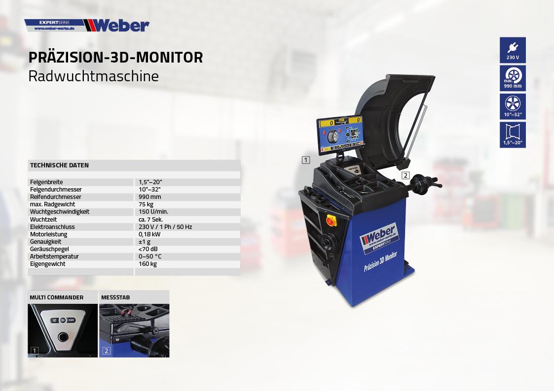 PKW Radwuchtmaschine Weber Expert Serie Präzision-3D-Monitor