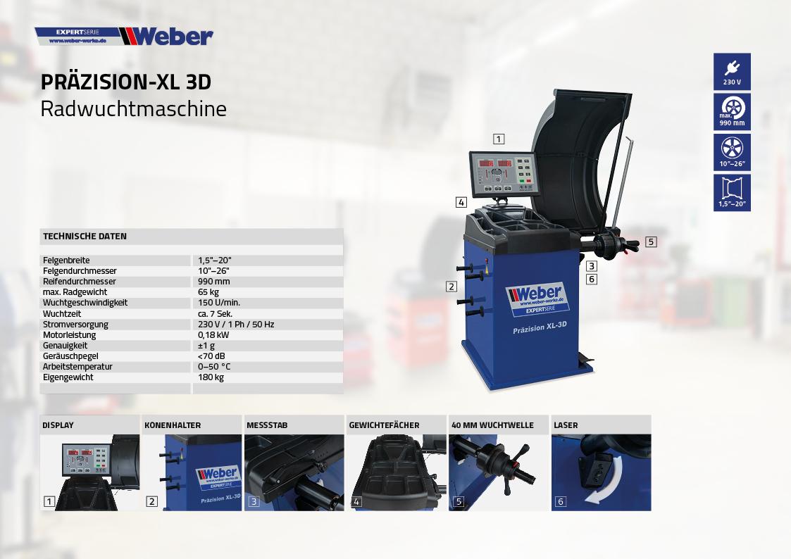 PKW Radwuchtmaschine Weber Expert Serie Präzision-XL 3D