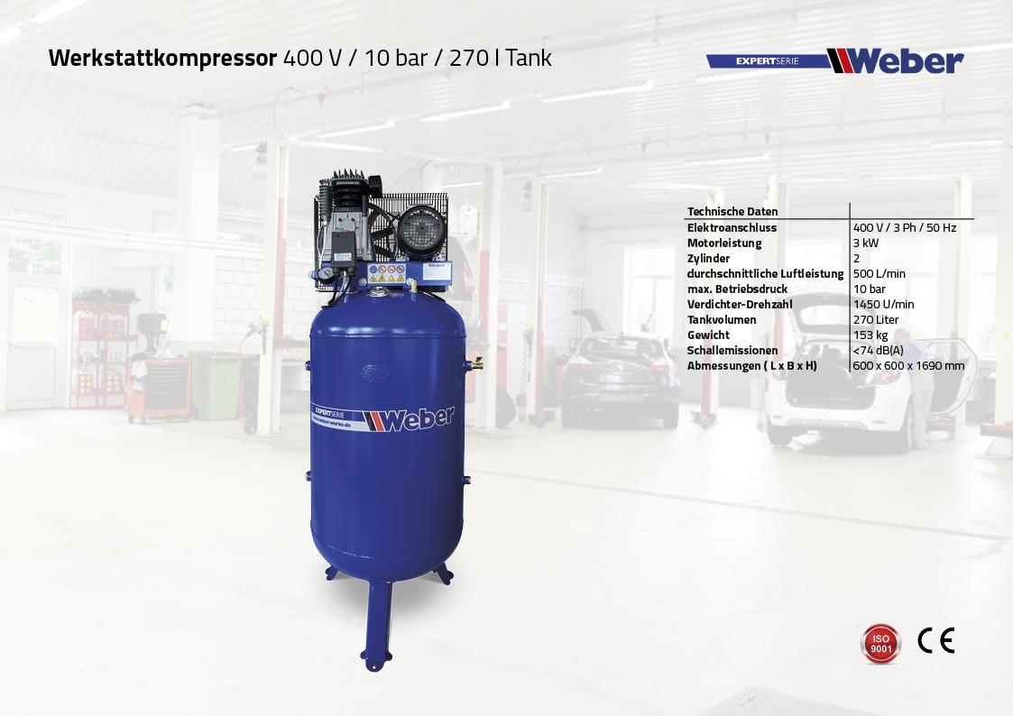 Werkstattkompressor 400 V / 10 bar / 270 l Tank