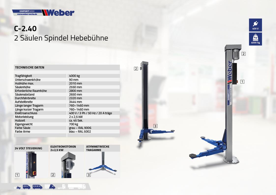 """2 Säulen """"Spindel"""" Hebebühne Weber Expert Serie C-2.40"""