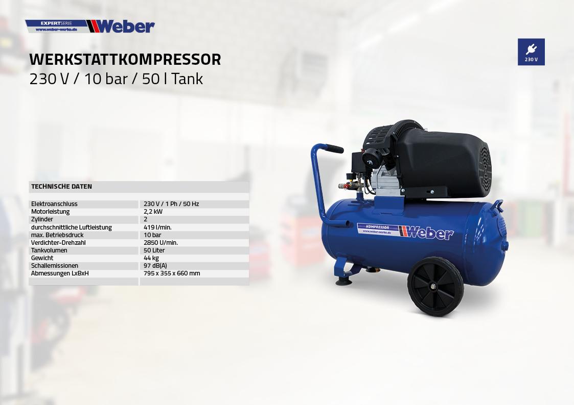 Werkstattkompressor 230 V / 10 bar / 50 l Tank