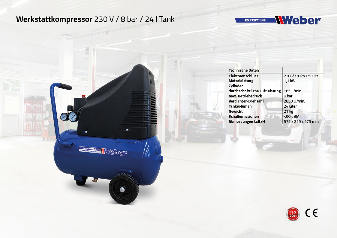 Werkstattkompressor 230 V / 8 bar / 24 l Tank