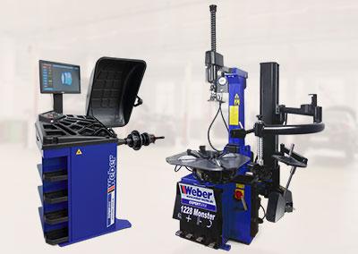 PKW Reifenmontiermaschine 1228 Monster und Radwuchtmaschine Präzision-3D Sonar