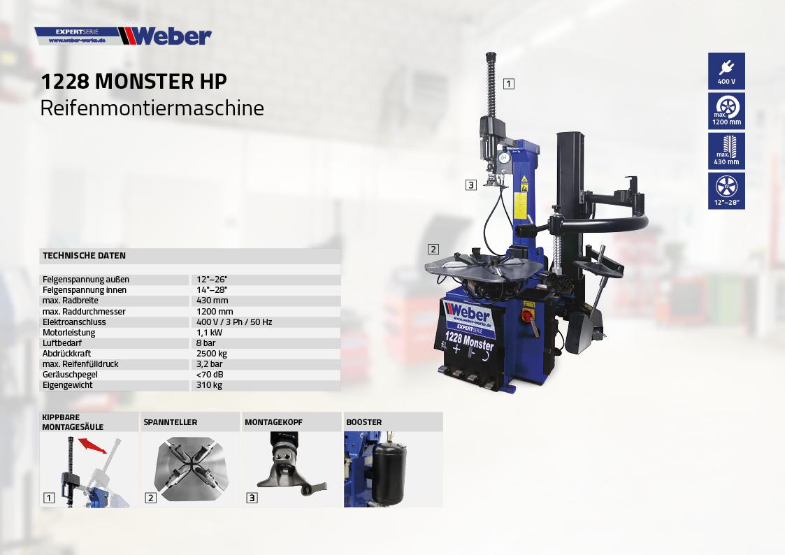 PKW Reifenmontiermaschine Weber Expert Serie 1228 Monster HP
