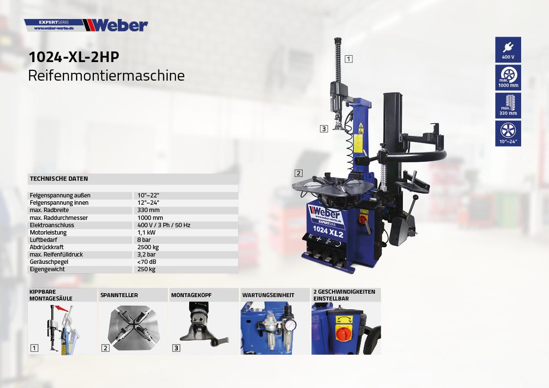 PKW Reifenmontiermaschine 1024-XL-2HP