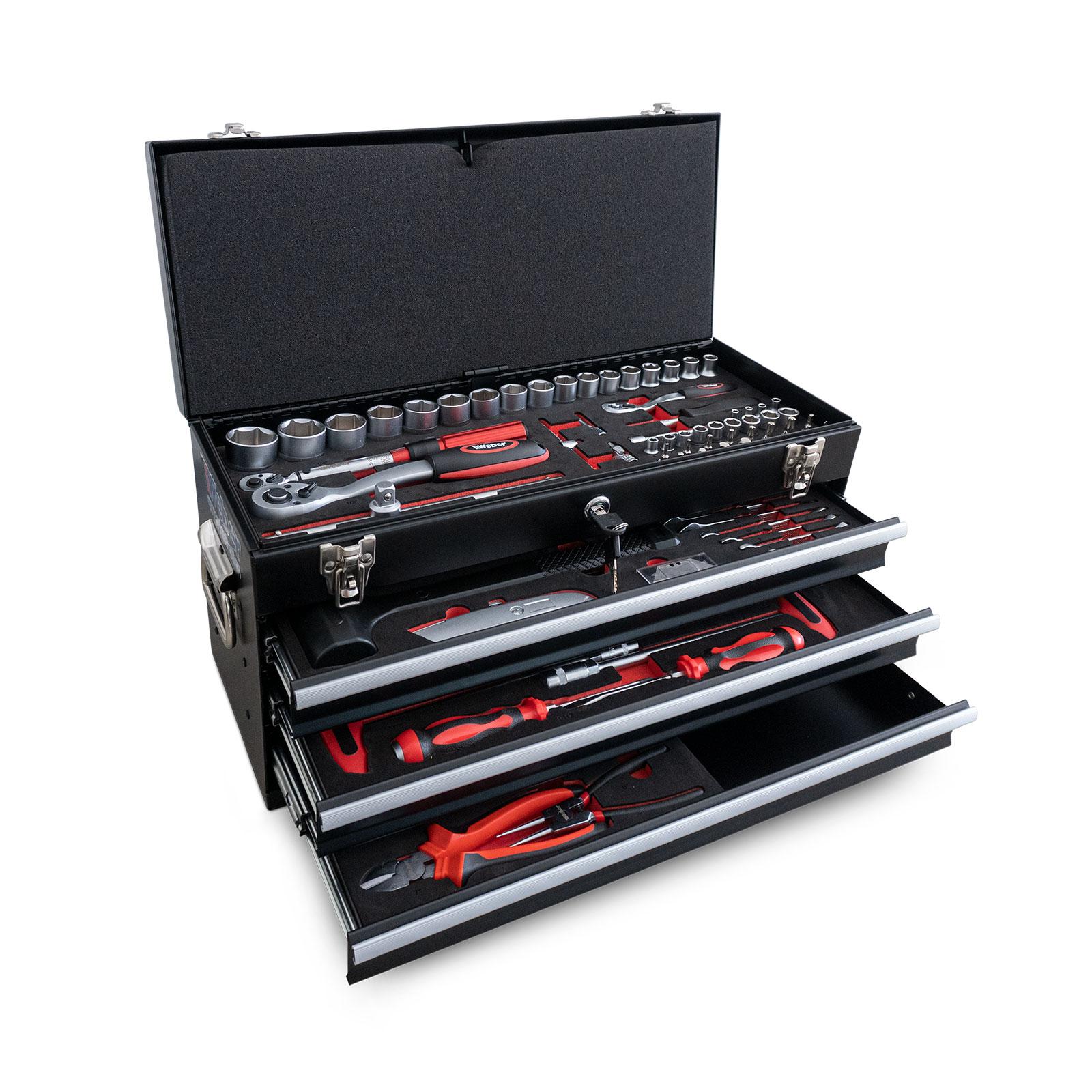 Werkzeugkiste mit 3 Schubladen und Klappdeckel 104-teilig